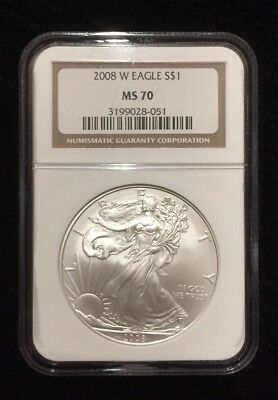 2008 W American Silver Eagle Uncirculated Burnished Dollar NGC MS70