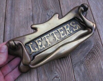 Antique Brass Decorative Letter Box Plate / Mail Slot with Door Knocker Mailbox