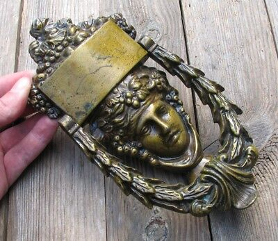 Old Large Reclaimed Decorative Solid Brass Goddess Door Knocker