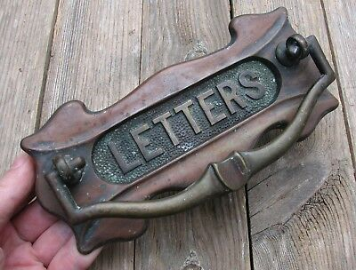 Antique Brass Letter Box Plate with Door Knocker with WORKING SPRING