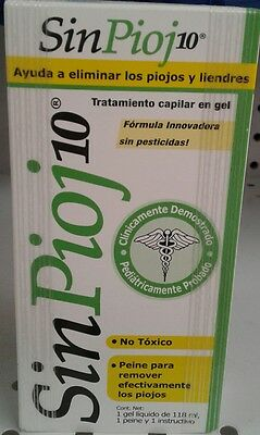 SINPIOJ 10 GEL - Mata Piojos/Liendres - Kills Lice & Eggs 118ml - FREE SHIPPING