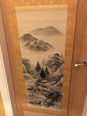 Vintage Japanese  hanging scroll, mountains, Japan import 200cm