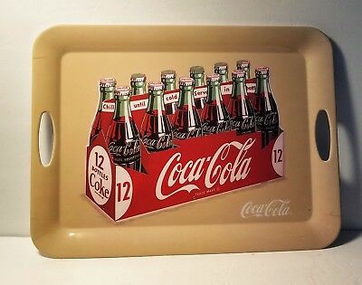 Coca-Cola Plastic Serving Tray Platter Sign Advertising with 12 Bottles