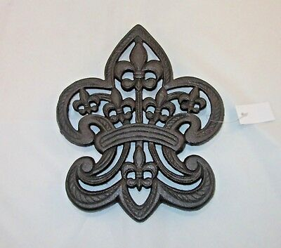 Fleur De Lis Trivet Cast Iron Ornate Kitchen Decor Pot Holder Wall Art 9.5""