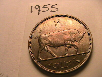 1955 Ireland One Shilling Coin 1S Irish Ch BU to Gem Eire 1 Scilling Superb Tone