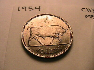 1954 Ireland One Shilling Coin 1S Irish Ch BU to Gem Eire 1 Scilling
