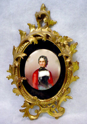 Antique MINIATURE PORTRAIT Oval PAINTING Ornate Rococo FRAME Vintage 18th C Lady