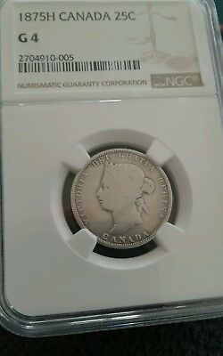 Super Key Date 1875-H Canada 25 Cents  Ngc Graded G-4+