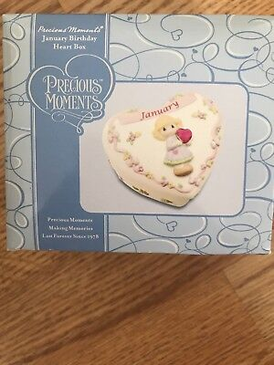 Precious Moments January Birthday Heart Box