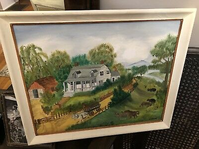 Folk Art Painting Homestead Wagon Horses Barn Cattle East Tennessee