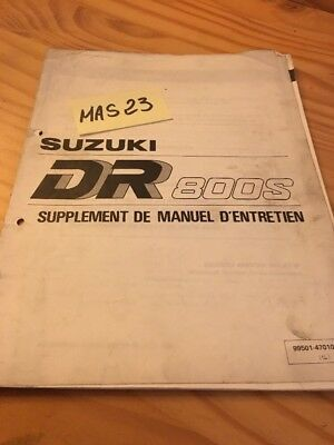 Suzuki DR800S L 1990 DR800 SL DR 800  supplement revue technique manuel atelier