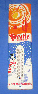 """Vintage Frostie Root Beer Thermometer-11.5""""-Snowman-Sun 4 Season-Soda Sign"""