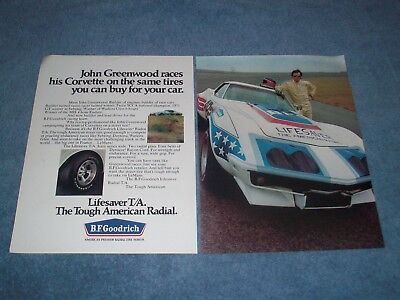 1972 BFGoodrich Vintage T/A Tires Ad  with John Greenwood Corvette Race Car