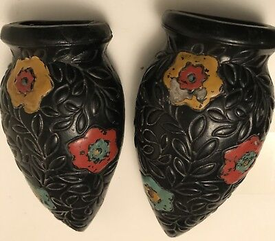 Very Old Japan Pottery Flower Sconces Wall-Hanging Vases Art Deco Black Glaze