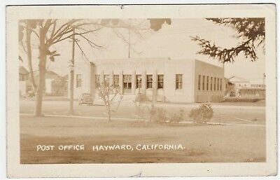 NICE  RPPC -  Post Office - Hayward California 1941  Real Photo Postcard  CA