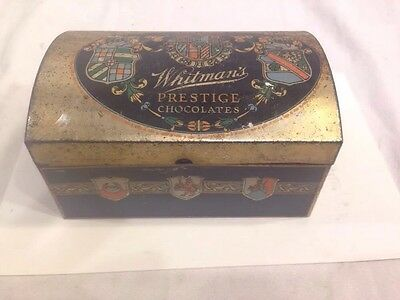 Vintage Antique WHITMAN'S PRESTIGE CHOCOLATE CHEST Tin Container Hinged Crest Se