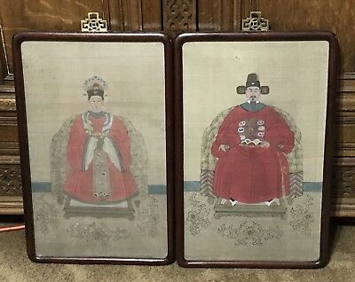 Antique Chinese Ancestor Man & Woman Paintings Portraits On Silk Framed