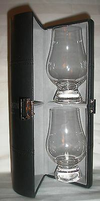 Glencairn Two Glass Black Stitched Caddy For Glencairn Glasses