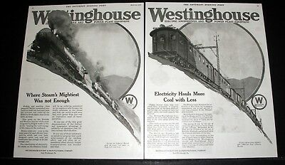 1918 Old Magazine Print Ad, Westinghouse Electric Locomotives And Power Plants!