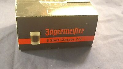 6 Jagermeister Frosted Shot Glasses Sealed in Original Box. New, Never Used
