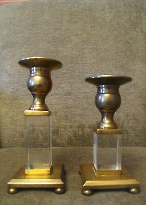 "Vintage Pair Brass Acrylic Lucite Footed Candle Holders-Mid Century-7"" 6"""