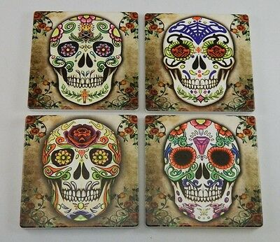 Day Of The Dead Sugar Skulls Skeleton Ceramic Tile Beverage Coasters Set of 4