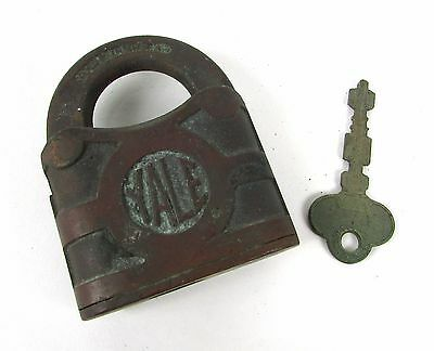 Vintage Brass YALE Towne Mfg Co Solid Brass Antique Lock and Key - Uncleaned