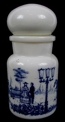 "Vintage 5"" Milk Glass and Blue Spice Jar - Made in Belgium - Sunday Park Scene"