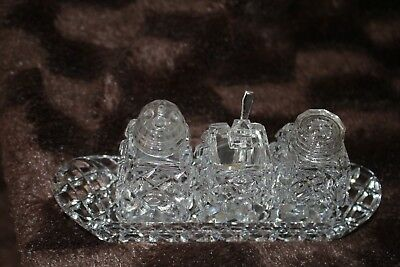 vintage crystal cruet set on tray salt pepper mustard epns silver spoon vgvc