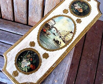Vintage Weathered Plaque Wood Picture Shabby French Chic Italy Florals Worn