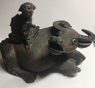 Antique Chinese Carved Rosewood Statue of Ox / Water Buffalo w/ 1 happy child