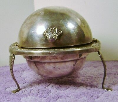 FB Rogers SILVERPLATE FOOTED DOME ROLL TOP BUTTER DISH Server 1883 ?