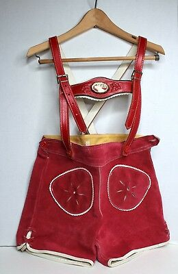 Vintage 1960s Child's Size 5-6 Lederhosen Red & White Leather Moose Germany