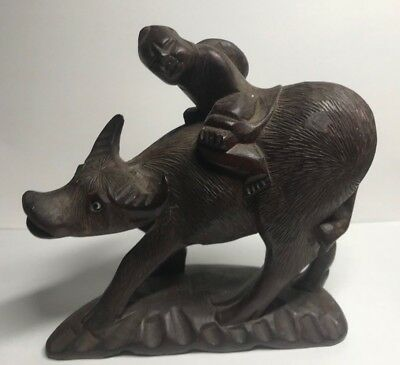 Antique Chinese Carved Rosewood Statue of Ox / Water Buffalo Riding Happy Chid