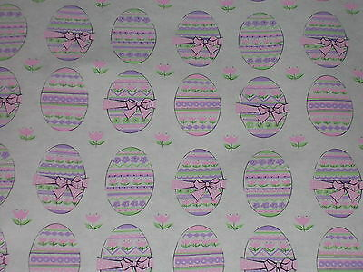 Vtg Easter Egg Wrapping Paper Gift Wrap Adorable 2 Yards Nos 1950 Pink Green