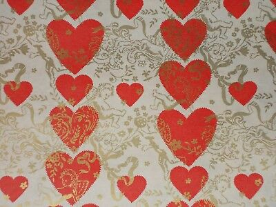 Vtg Valentine's Day Heart Wrapping Paper Gift Wrap 2 Yards Nos 1950 Cupid