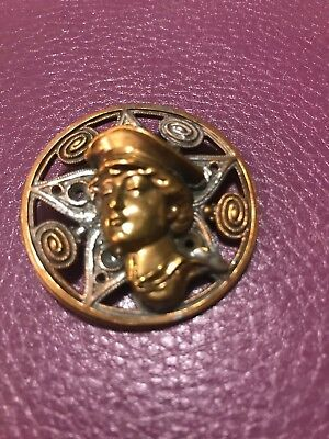antique xl copper and brass Portrait of young postman/military person ?