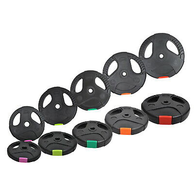 50kg Weight Plate Set - Dual Grip Ez Handle PVC Coated Home Gym Barbell  Plates