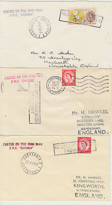1962-63 lot of 3 x Dubrovnik Yugoslavia Paquebot covers ~ RMS Caronia