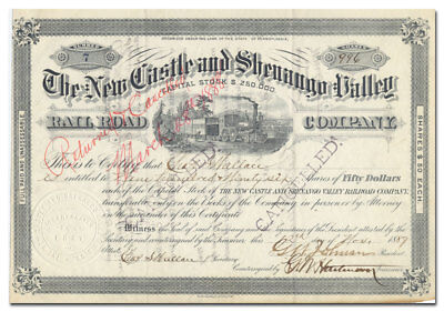 New Castle and Shenango Valley Rail Road Company Stock Certificate (1887)