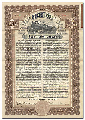 Florida Railway Company Bond Certificate Signed by Frank Drew (1909)