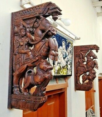 Wall Wooden Bracket War Horse Corbel Pair Sculpture Statue Vintage Home Decor