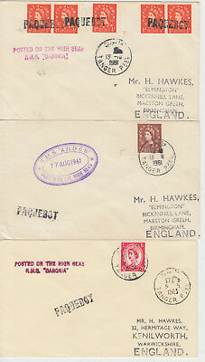 1961-63 lot of 3 x Tangier Morocco Paquebot covers ~ RMS Andes & RMS Caronia