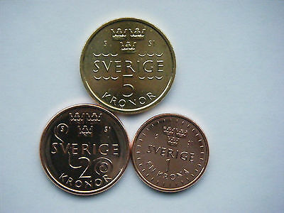 Sweden 2016 set of new coins. 1, 2, 5 kronor. From bank roll. Cheapest on Ebay?