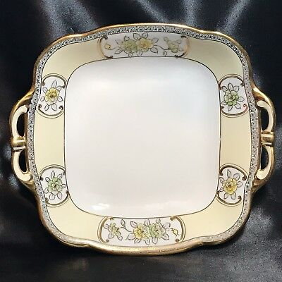 Nippon M-in-Wreath Square Bowl - 2 Handles - Hand Painted Floral Raised Gold