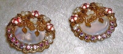 Vintage Clip On Earrings Mother of Pearl and Rhinestone-Holiday Dress-1950's