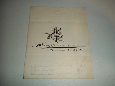 Edward Linley Sambourne Cartoonist Illustrator Autograph Signed Drawing