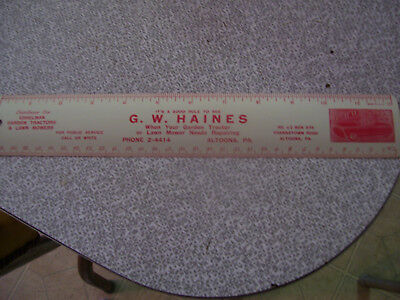 Vintage Advertising G.w.haines Altoona,pa. Eshelman Garden Tractor Metal Ruler