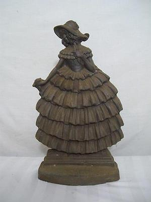 A Good Large Antique Cast Iron Crinoline Lady Door Porter Stop
