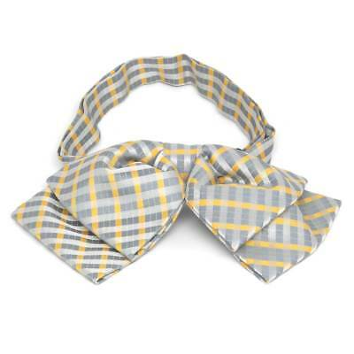 TieMart Dark Silver George Plaid Floppy Bow Tie